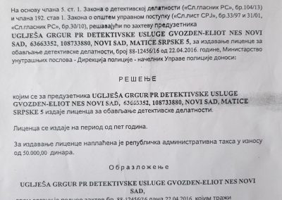 Licenca za obavljanje detektivske delatnosti